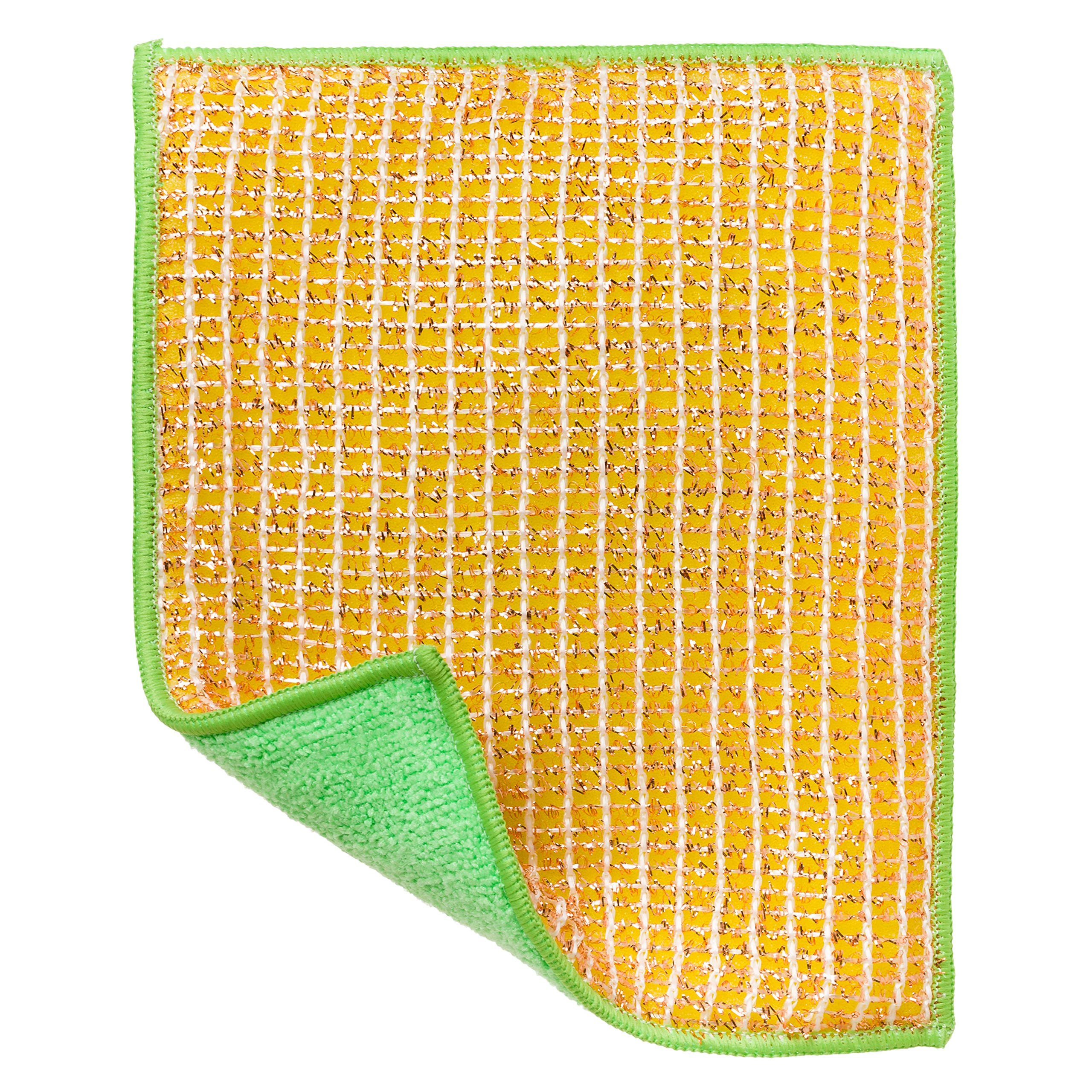 REDECKER Dual Sided Copper and Microfiber Cleaning Cloth, Set of 5, 8 x 6 inches, Non-Abrasive Copper Effectively Scrubs, Absorbent Microfiber Wipes Surfaces Clean, Machine Washable, Made in Germany by REDECKER