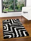 Large Quality Modern Design Shaggy Black Grey Rug in 120 x 170 cm (4' x 5'6'') Carpet