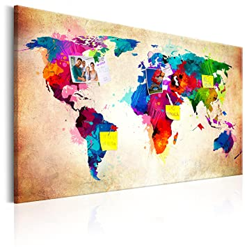 Murando   Weltkarte Pinnwand U0026 Leinwand Bild 90x60 Cm   1 Teilig    Wandbilder Als Korktafel