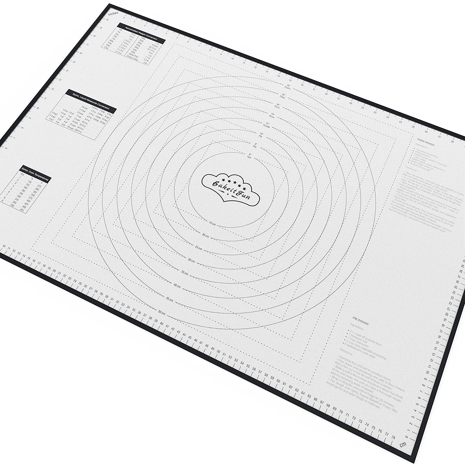 XX-Large Silicone Pastry Mat With Measurements, 33.5 x 22.5 Inches, Full Sticks To Countertop For Rolling Dough, Conversion Information Included, Perfect Fondant Surface, Black