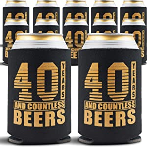 40th Birthday Decorations - Beverage Can Coolers - 40th Birthday Gift Ideas Beer Sleeve - Insulated Drink Holder Party Favors - 40 Year Old Birthday Gifts for Men & Women, 12-Pack, Black & Gold