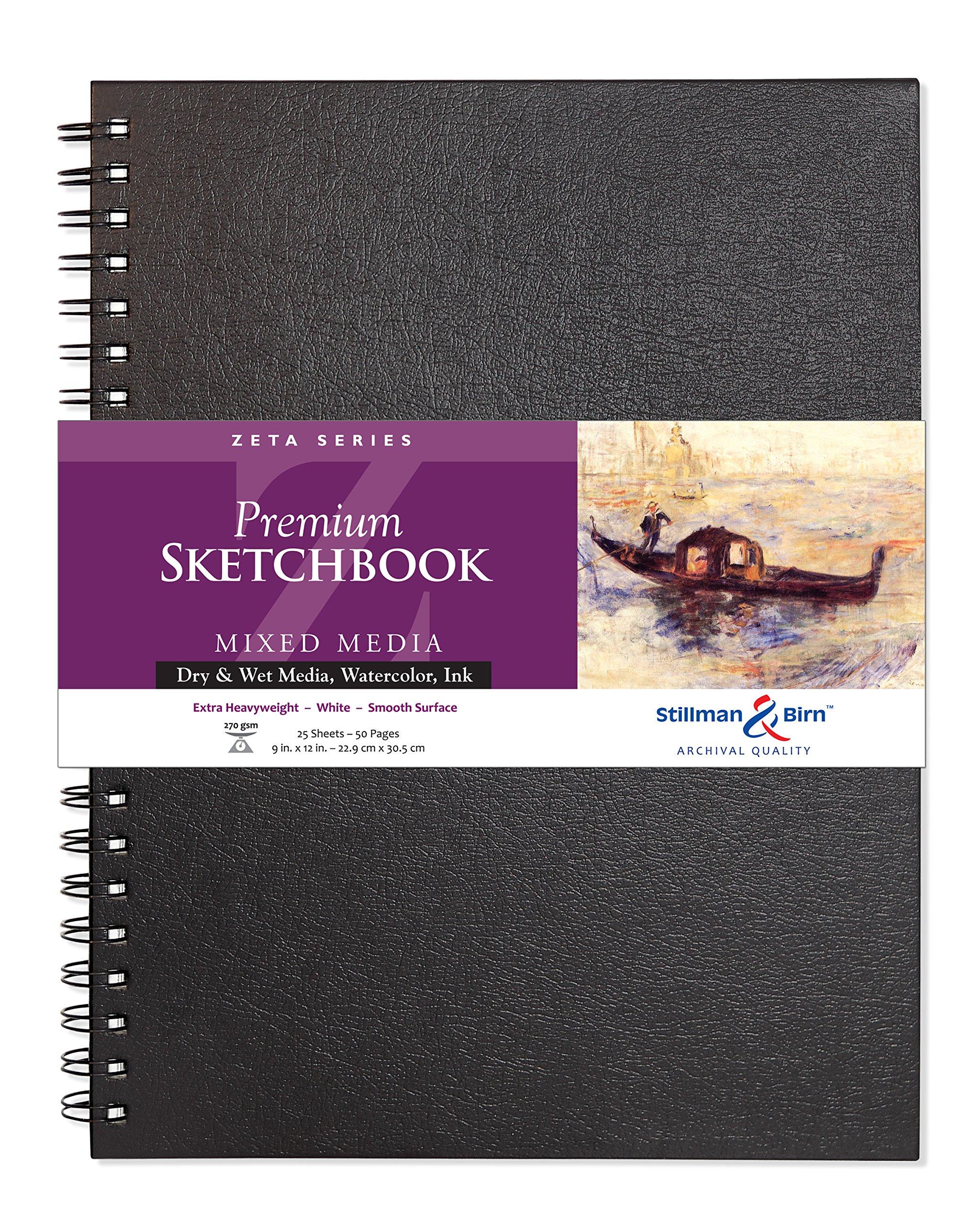 Stillman & Birn Zeta Wirebound Sketchbook, Heavyweight 180lb, Natural White, 25 Sheets, 9x12