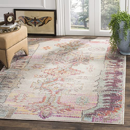 Safavieh Crystal Collection CRS517P Light Grey and Purple Distressed Bohemian Area Rug 7' Square