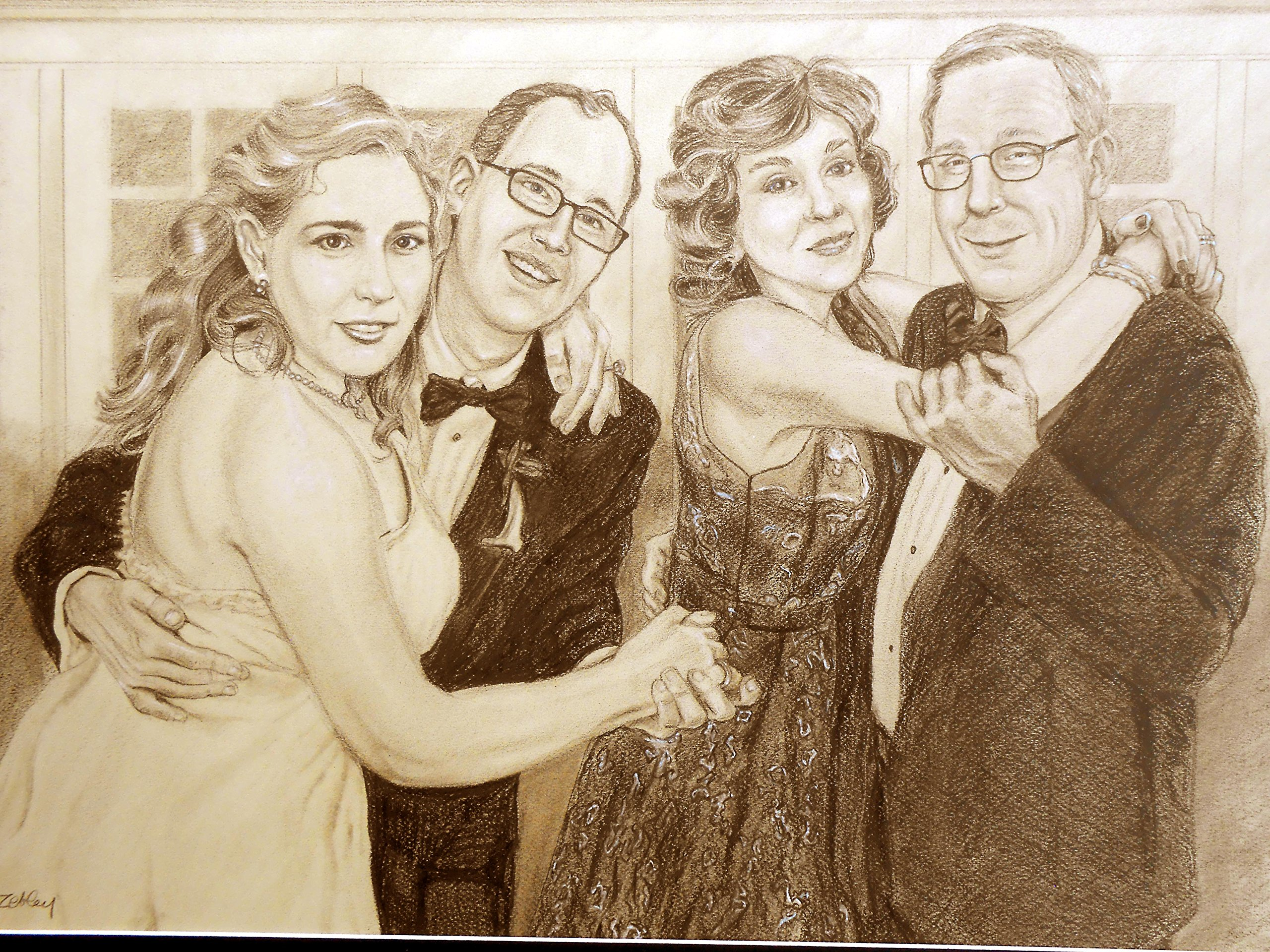 Custom Portrait Drawing, Wedding Reception Celebration, of Bride and Groom and Parents, Anniversary Couple Gift by Custom Portrait Paintings