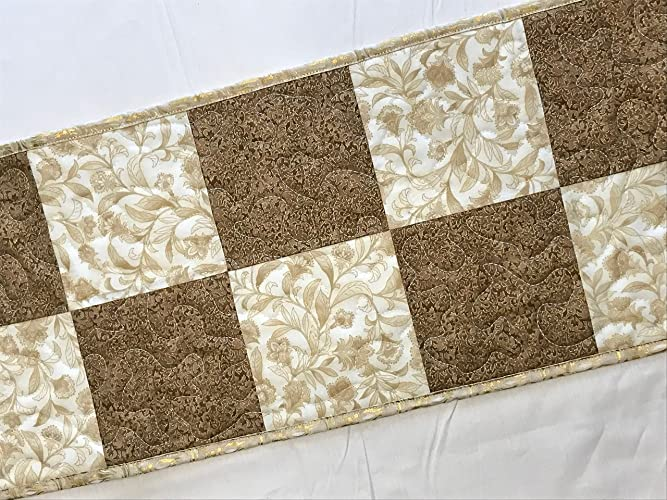 Amazoncom Brown And White With Gold Table Runner Table Topper