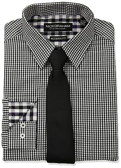 Nick Graham Hombre NTS403NG24 Camisa de Vestir - Negro - 37 cm- 38 ...