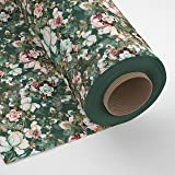 Encasa Homes Fabric By The Metre - Digital Printed Cotton Twill 140 cms Width, Green Roses
