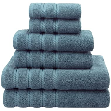 Premium, Luxury Hotel & Spa Quality, 6 Piece Kitchen and Bathroom Turkish Towel Set, 100% Genuine Cotton for Maximum Softness and Absorbency by American Soft Linen, [Worth $72.95] (Colonial Blue)