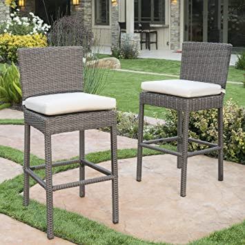 Pollenca Wicker Counter Height Dining Chairs With Canvas Sunbrella Cushions  (Set Of 2)