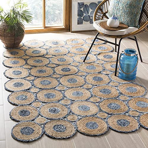 Safavieh CAP306M-8 Cape Cod Collection Blue and Natural Cotton Area Rug