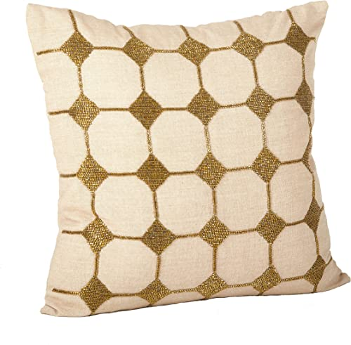 SARO LIFESTYLE 554.BZ18S Diamond Design Down Filled Throw Pillow, Bronze, 18