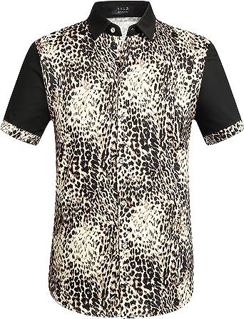 SSLR Camisa Hombre Estampado Leopardo Manga Corta Casual para Verano (X-Large, Negro): Amazon.es: Ropa y accesorios