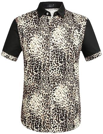 06c91a568ddf SSLR Men's Leopard Print Button Down Short Sleeve Casual Shirt (Medium,  Black)