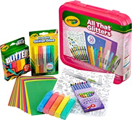 Crayola All That Glitters Art Case Art Gift for Kids 5 & Up, Includes Glitter Crayons, Marker, Glue, Chalk, Paper & Stickers in A Convenient Travel Case, Over 50 Pieces