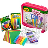 Crayola All That Glitters Art Case Art Gift for Kids 5 & Up, Includes Glitter Crayons, Marker, Glue, Chalk, Paper & Stickers in A Convenient Travel Case, Over 50 Pieces - 04-6887