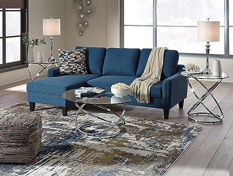 Amazon.com: Jarreau Contemporary Blue Color Fabric Sofa ...