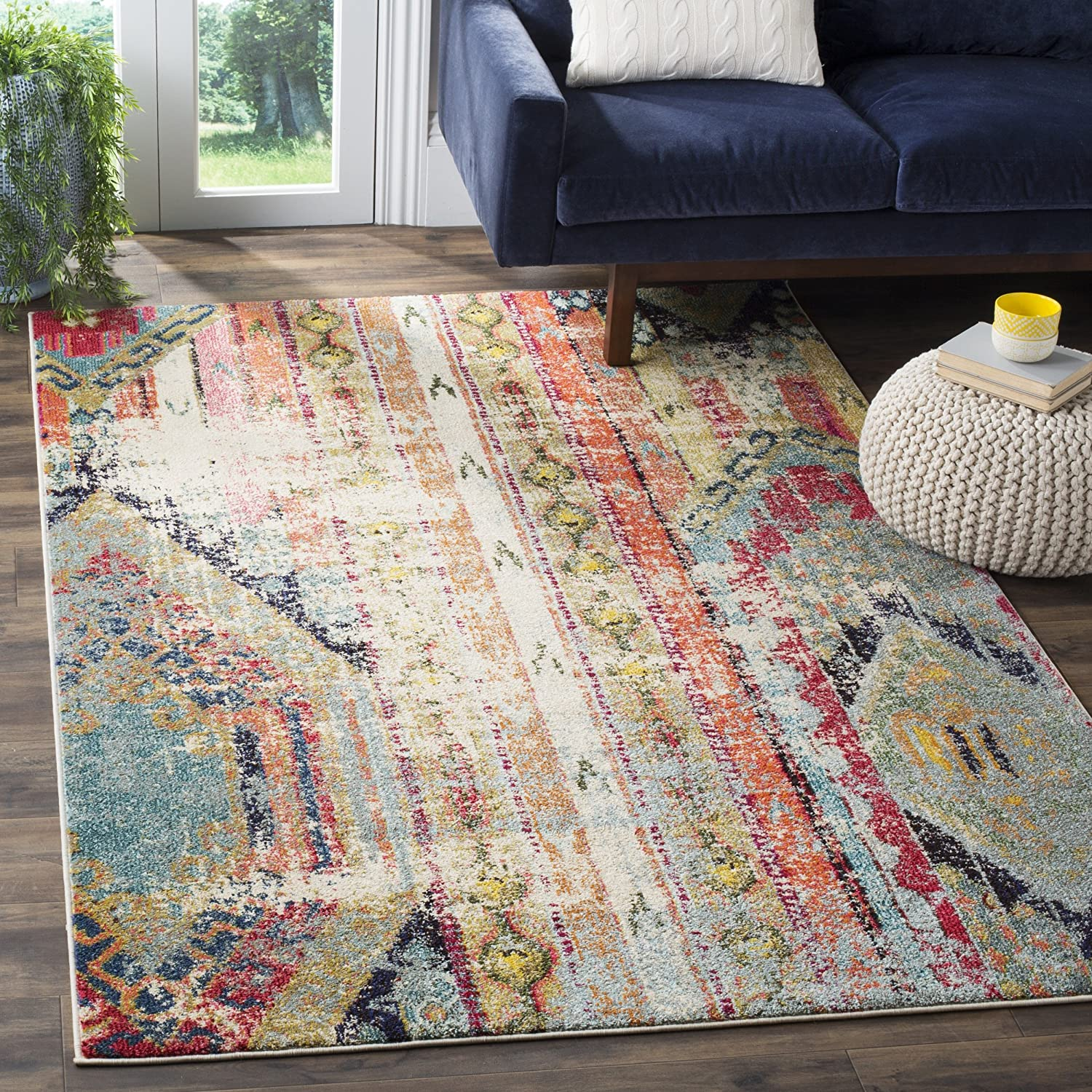"Safavieh Monaco Collection MNC222F Modern Bohemian Multicolored Distressed Area Rug (4' x 5'7"") MNC222F-4"