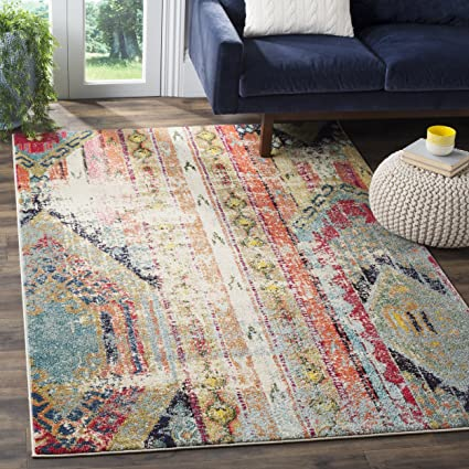 Safavieh Monaco Collection MNC222F Modern Bohemian Multicolored Distressed Area  Rug (5u00271u0026quot; ...