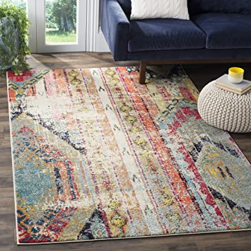 Safavieh Monaco Collection MNC222F Modern Bohemian Multicolored Distressed Area Rug 67quot X