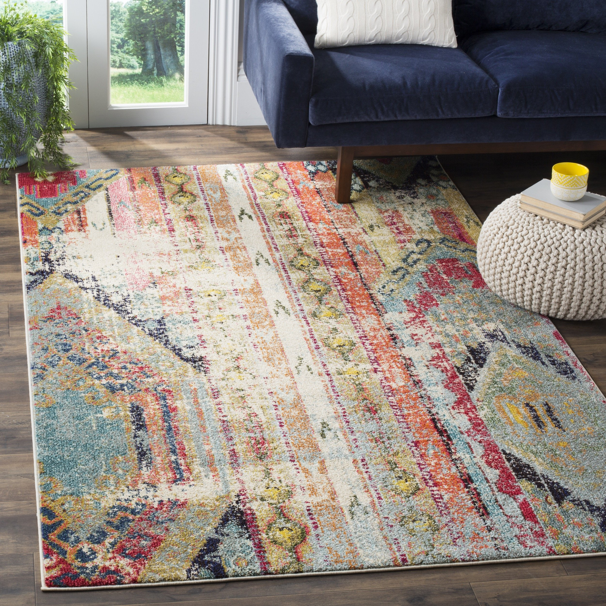 Safavieh Monaco Collection MNC222F Modern Bohemian Multicolored Distressed Area Rug (5'1'' x 7'7'') by Safavieh