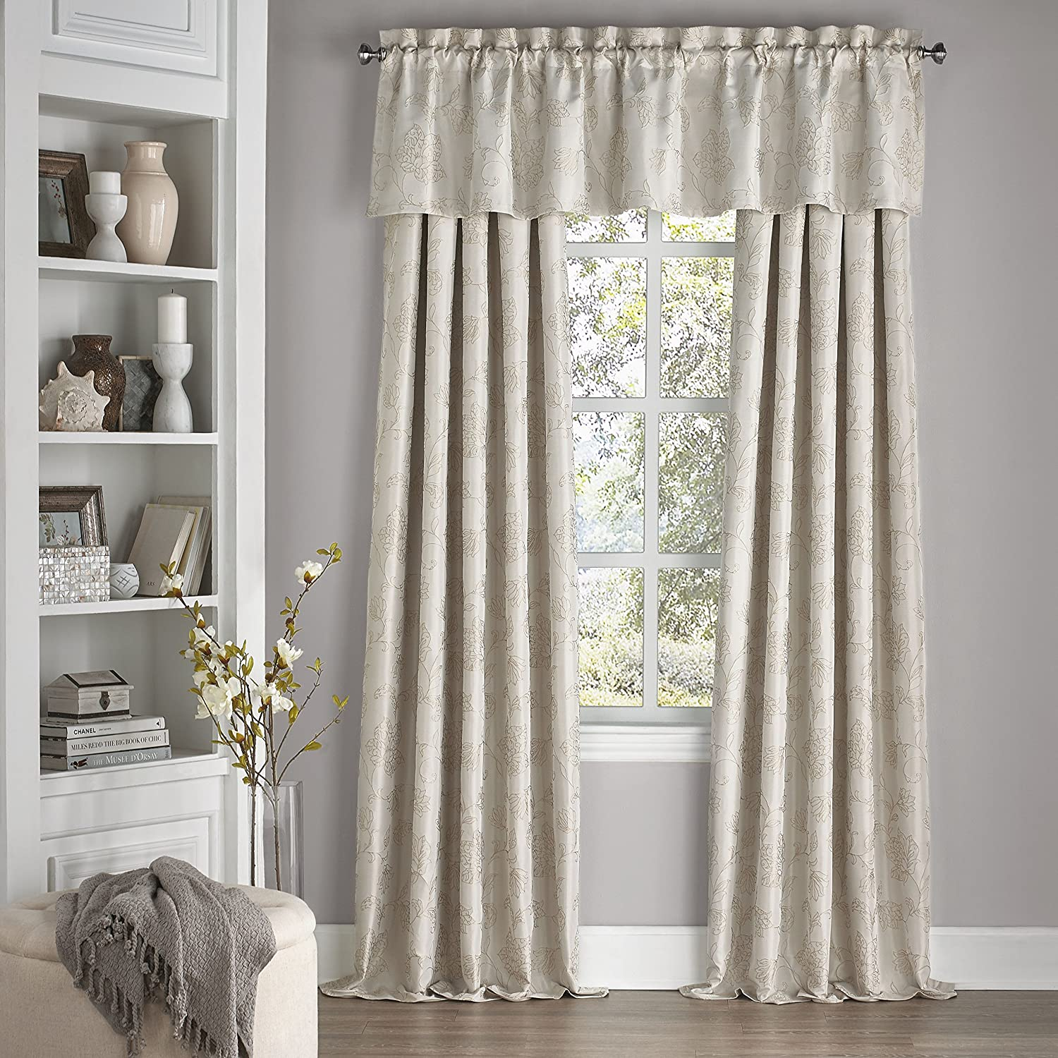 Eclipse 15654052018IVY Mallory 52-Inch by 18-Inch Blackout Floral Valance Ivory Ellery Homestyles