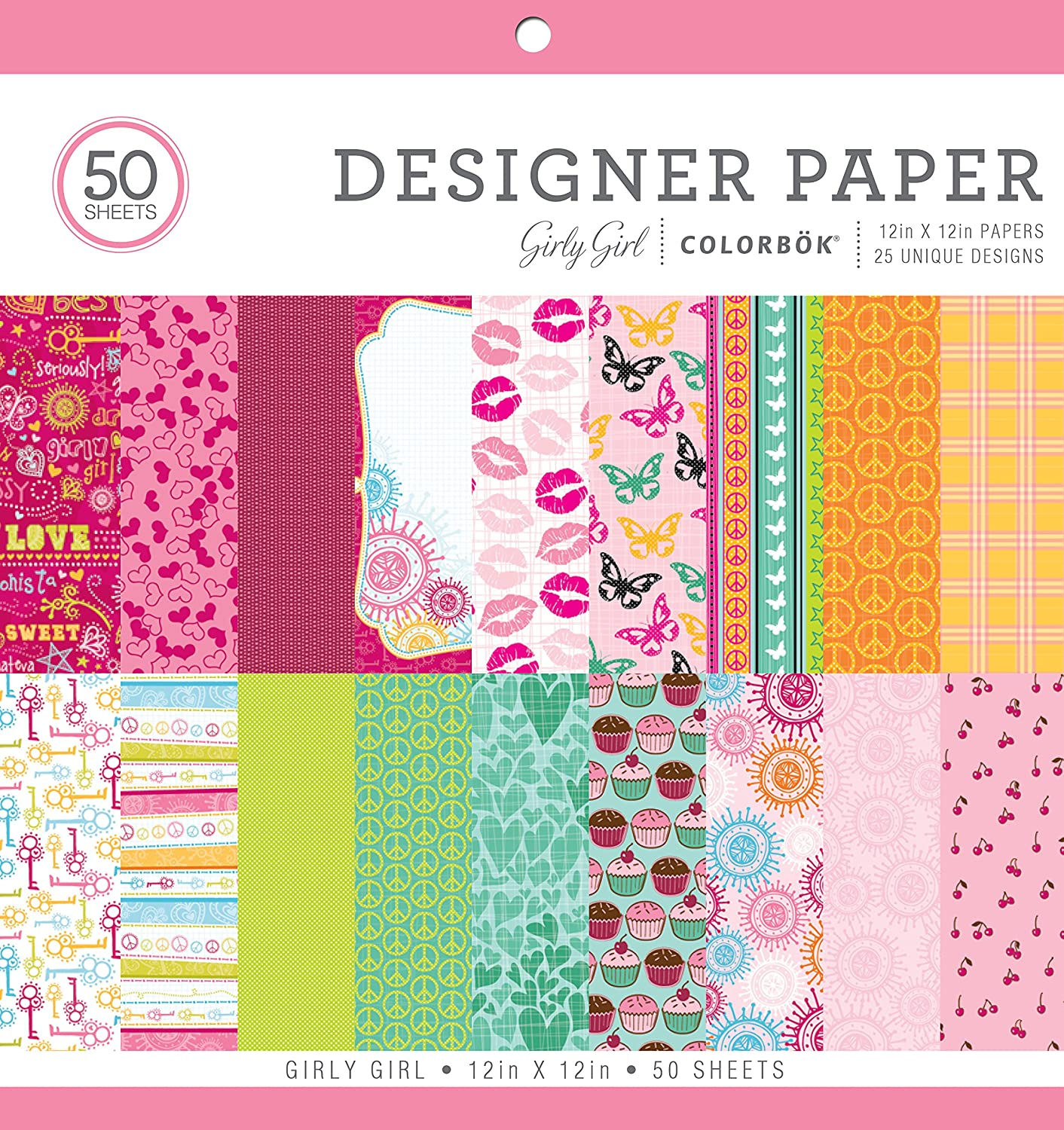 """Colorbok Designer Paper Pad, 12"""" x 12"""", Girly Girl: Arts, Crafts & Sewing"""