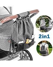 Zamboo Bolsa Ligera Silla de paseo - Bolso Panera Universal/Organizador Carrito con ganchos   Pequeño bolso cambiador/Mochila para pañales - Gris Negro Mochila para pañales - Gris Negro