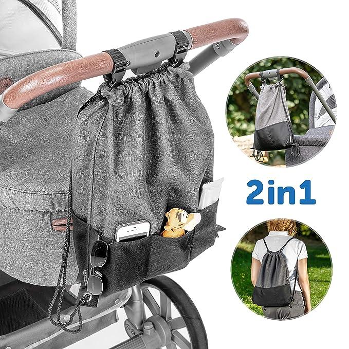 Zamboo Bolsa Ligera Silla de paseo - Bolso Panera Universal/Organizador Carrito con ganchos - Pequeño bolso cambiador/Mochila para pañales - Gris ...