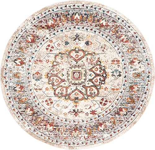 Safavieh Carlyle Collection CYL229A Ivory and Gold 6 7 Round Area Rug, 6 7