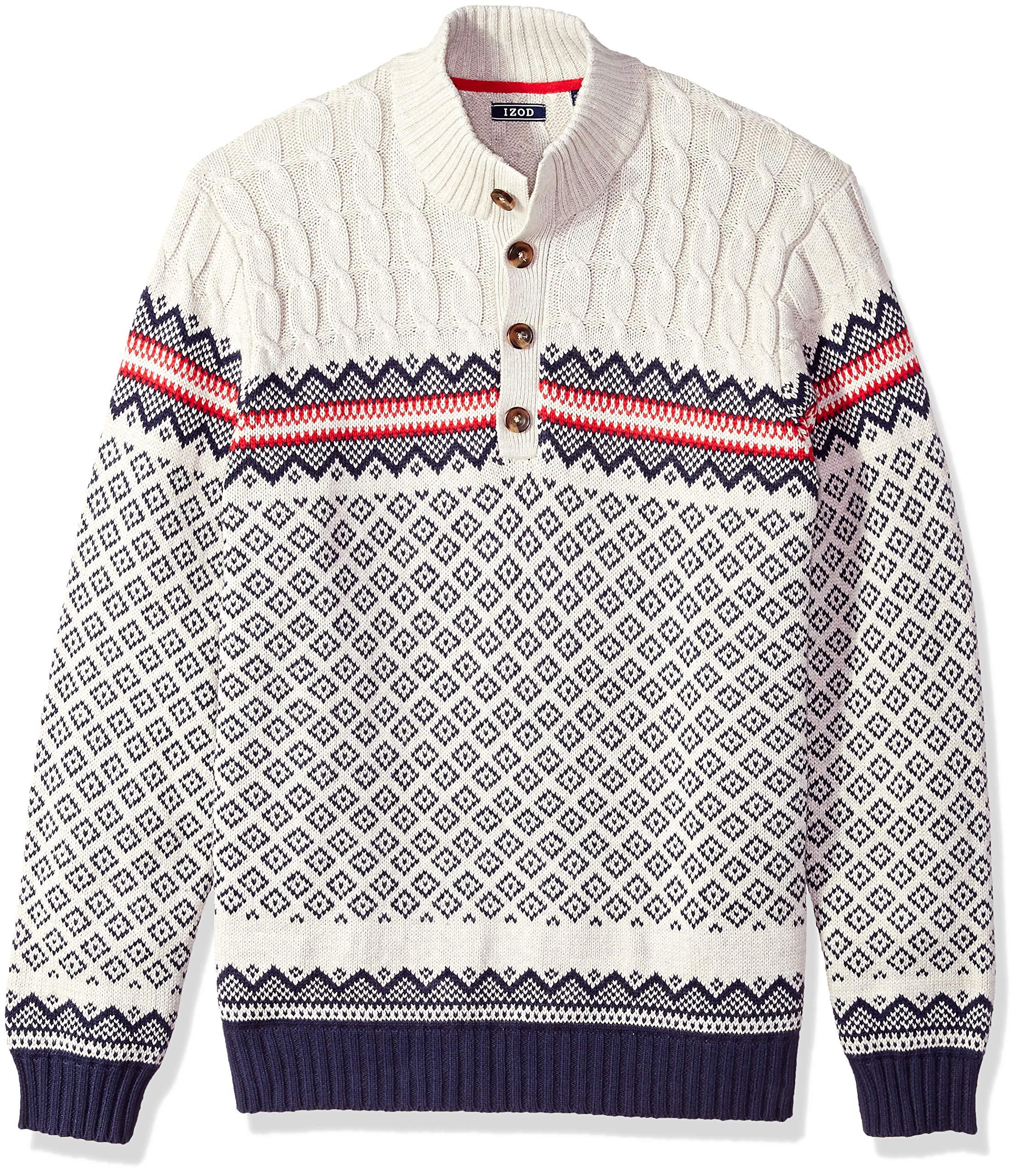 IZOD Men's Big and Tall Fairisle Buttoned Mock Neck 5 Gauge Sweater, Edifice Heather, 3X-Large