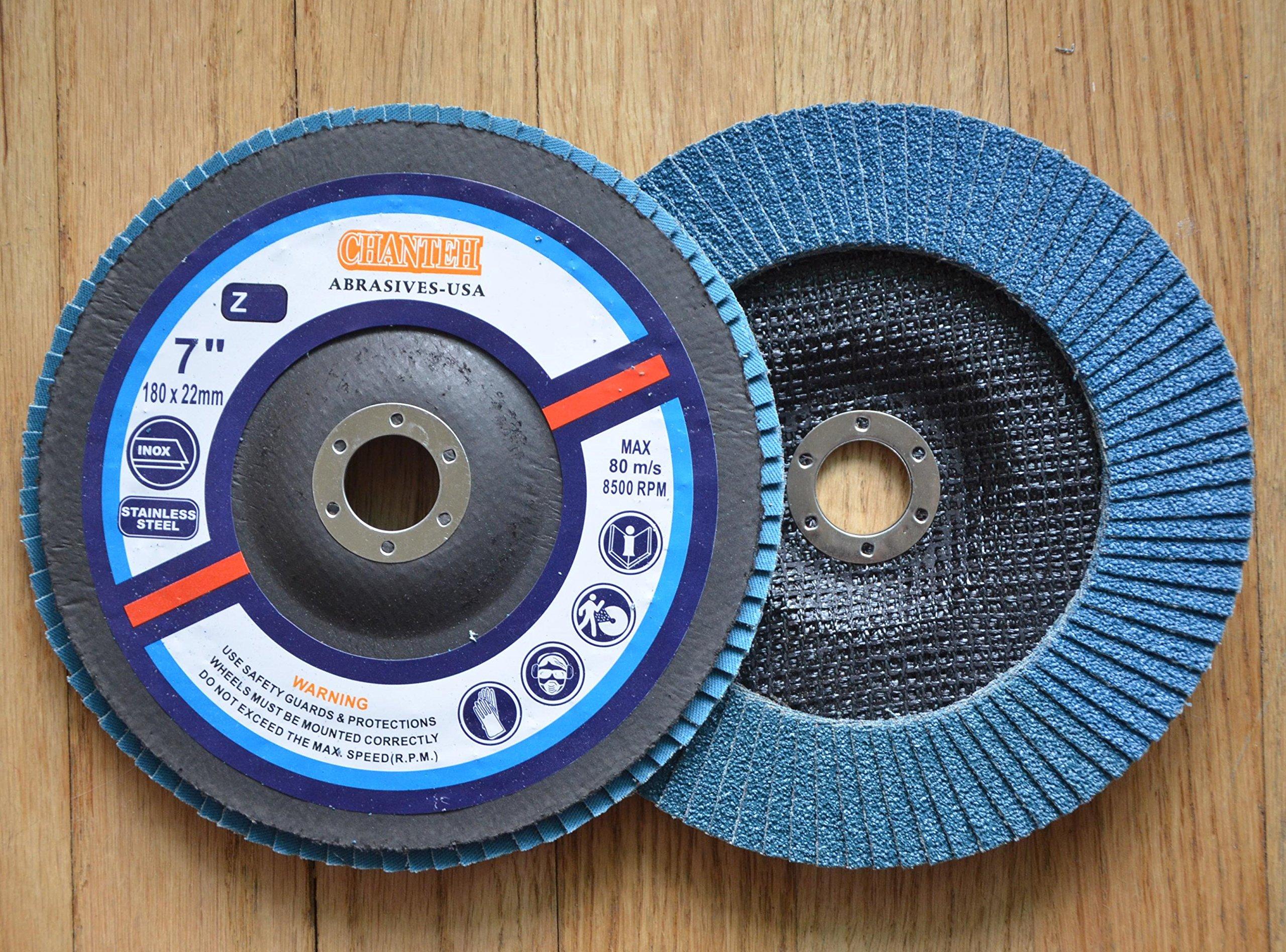 Premium FLAP DISCS 7'' x 7/8'' Zirconia 80 grit Grinding Wheel grinder tool 5pcs Pack