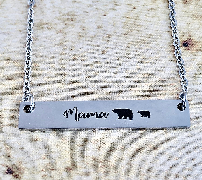 Mama Bear Bar Necklace One Cub By Dots of Sugar