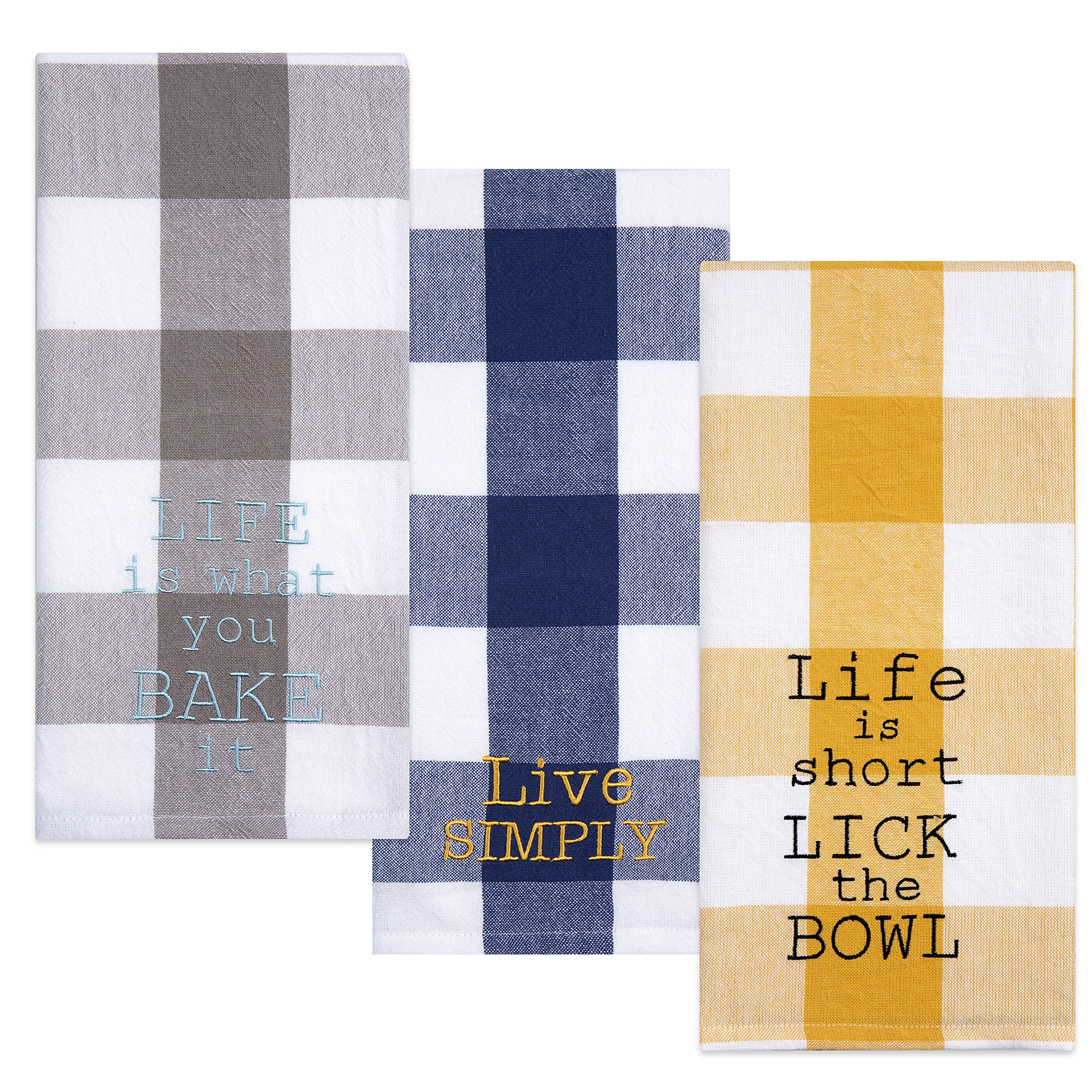 Sticky Toffee Cotton Gingham Flour Sack Kitchen Towels, Embroidered Baking Theme, 3 Pack, 28 in x 29 in