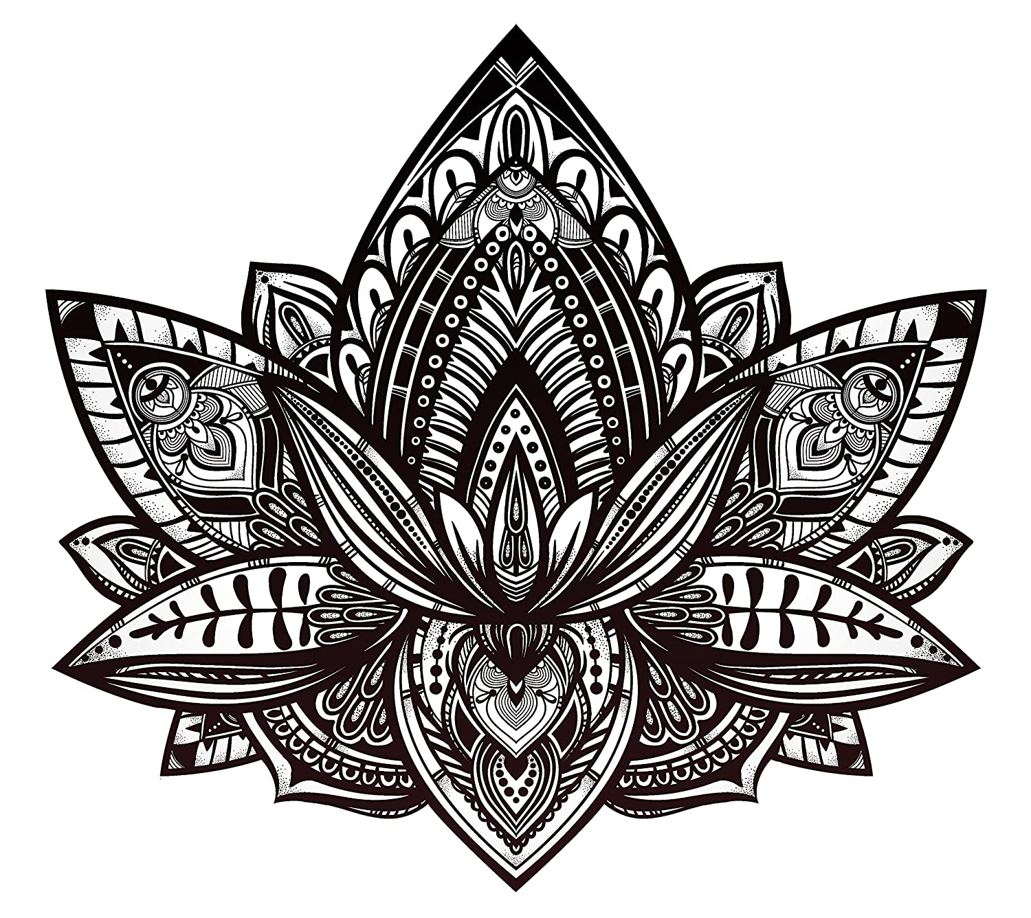 Beautiful Tribal Henna Pattern Lotus Flower Black And White Vinyl Decal Sticker 4 Wide
