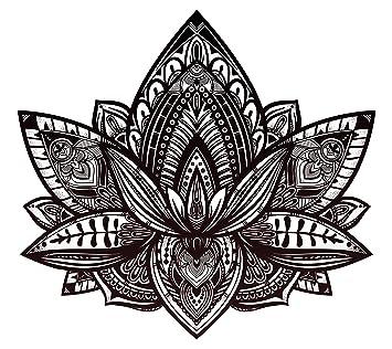 Amazon beautiful tribal henna pattern lotus flower black and beautiful tribal henna pattern lotus flower black and white vinyl decal sticker 8quot mightylinksfo