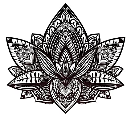 Amazon.com: Beautiful Tribal Henna Pattern Lotus Flower - Black and ...