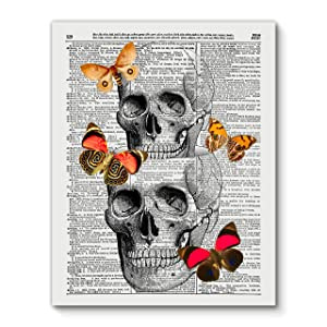 Skull in a Skull and Butterflies, Vintage Dictionary Art Print Reproduction Contemporary Wall Art For Home Decor, Modern Boho Art Print Poster, Country Farmhouse Wall Decor 11x14 Inches, Unframed