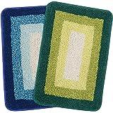 Saral Home Soft Cotton Anti Slip Bathmat (Set of 2 pc, 35x50 cm), Green, Turq