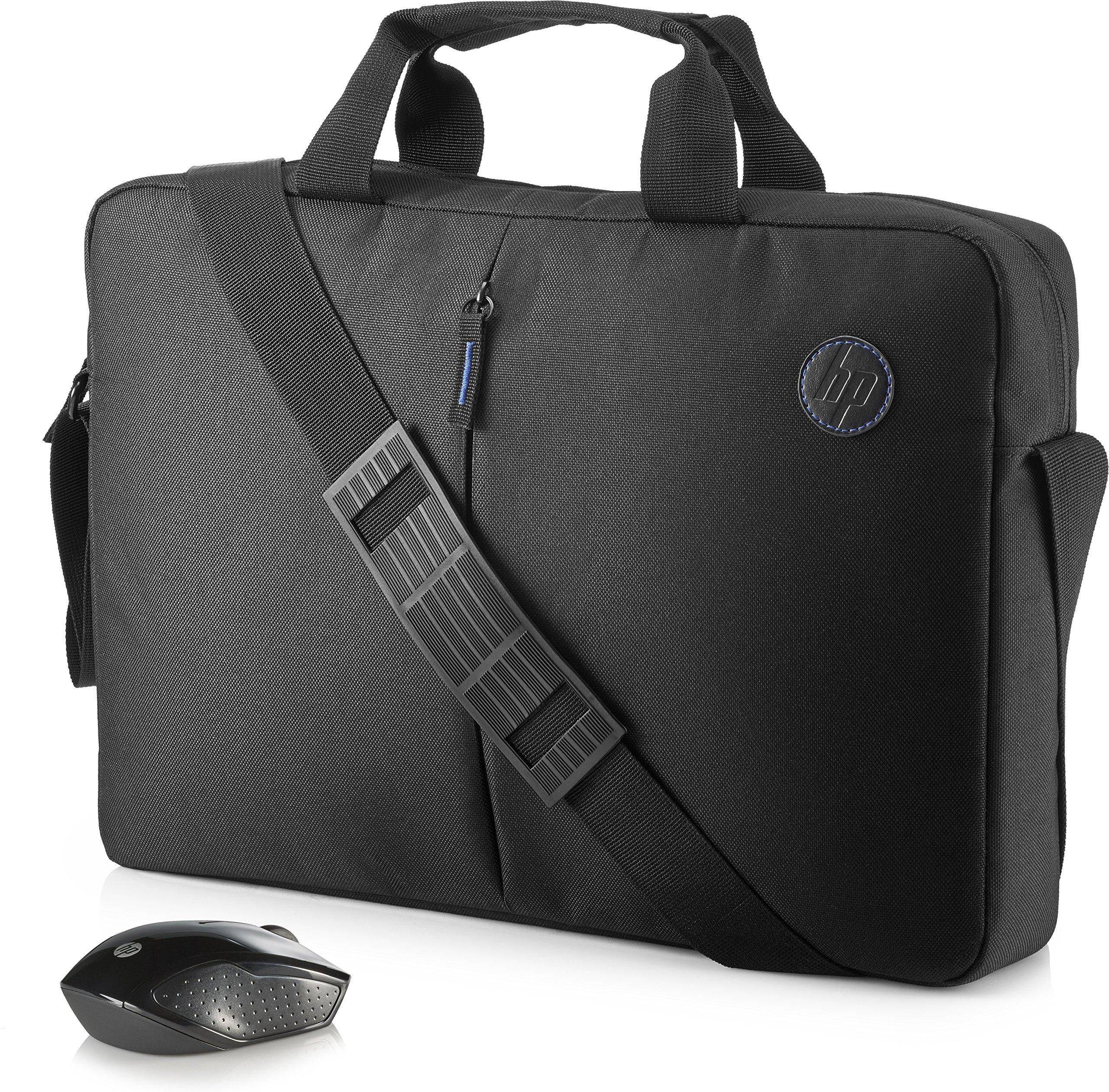 HP Value - Pack de maletín y ratón inalámbrico (portátiles hasta 15.6 pulgadas, bolsillos organizadores, tejido resistente), color negro