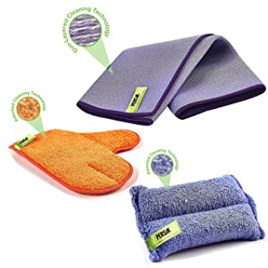 Pure-Sky Ultra-Microfiber Cleaning Cloth - JUST ADD Water No Detergents Needed - Includes Window and Glass Cleaning Towel Streak Free + Dusting and Cleaning Glove/MITT + Kitchen Cleaning Sponge