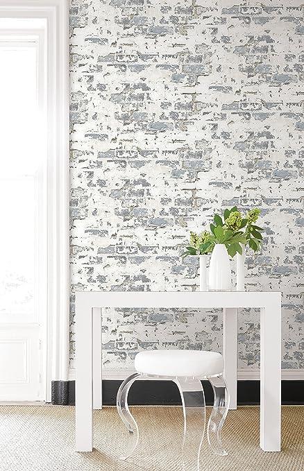 Antique Style Decorative Faux Brick Wallpaper White