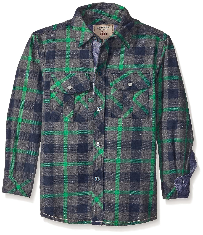 Gioberti Boys Flannel Shirt Removable Hood /& Chambray Contrast LS-501H-8