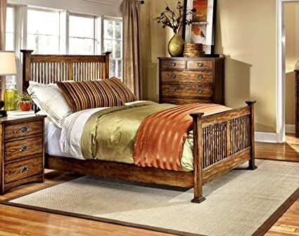 Intercon Oak Park Mission Slat Queen Bedroom Set
