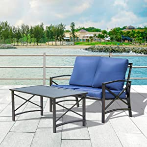 LOKATSE HOME 2 Pieces Patio Loveseat Metal Frame with Coffee Table Outdoor Bistro Furniture Set for Lawn Porch Garden Yard Poolside, Blue