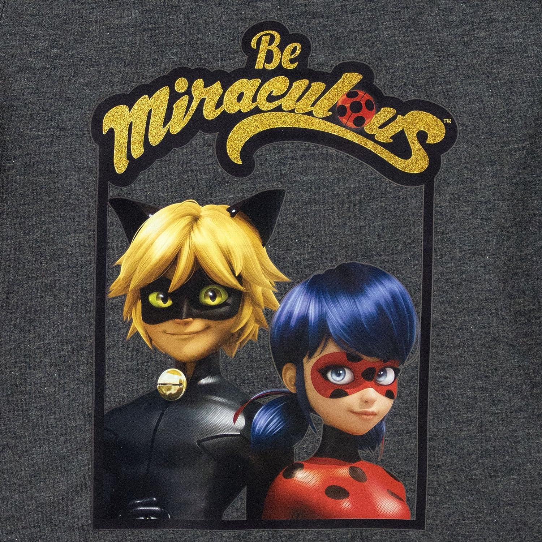 Miraculous Maglietta a Maniche Corte per Ragazze Ladybug e Cat Noir
