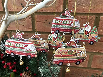 set of 6 metal camper van christmas tree decorations vintage retro style
