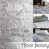 floor factory Alfombra de Pelo Largo Prestige gris argentado 80x150 cm - alfombra blanda extra larga