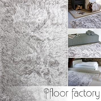 Flauschiger teppich  Hochflor Shaggy Teppich Prestige silber grau 160x230 cm ...