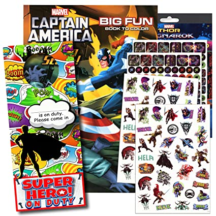 Marvel Captain America Coloring Book with Captain America Stickers Captain  America, Iron Man, Hulk, and More