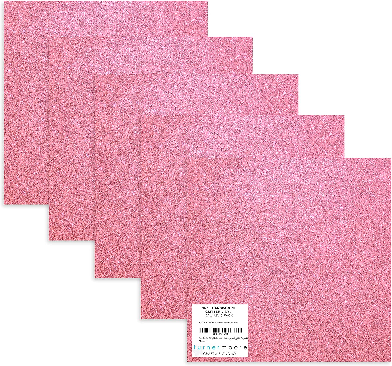 Stickers 12 x 12 Transparent Glitter Vinyl Sheets for Maker Silhouette Cameo Rosy Pink Glitter Vinyl Adhesive and Crafts by StyleTech x Turner Moore Edition Explore Rose Glitter Vinyl, 5-pk